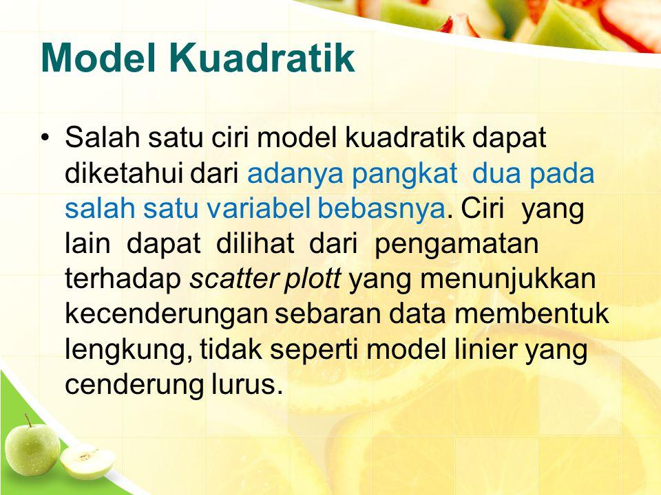 Model Kuadratik Salah satu ciri model kuadratik dapat diketahui dari adanya pangkat dua pada salah satu variabel bebasnya.