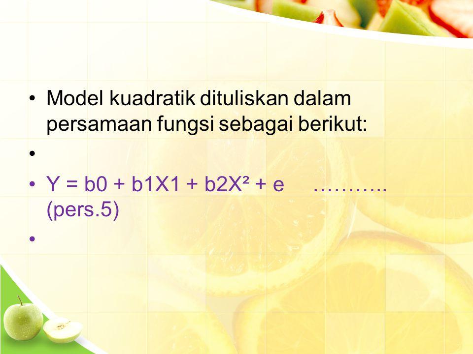 Model kuadratik dituliskan dalam persamaan fungsi sebagai berikut: Y = b0 + b1X1 + b2X² + e………..
