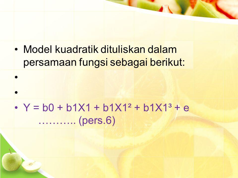 Model kuadratik dituliskan dalam persamaan fungsi sebagai berikut: Y = b0 + b1X1 + b1X1² + b1X1³ + e ………..
