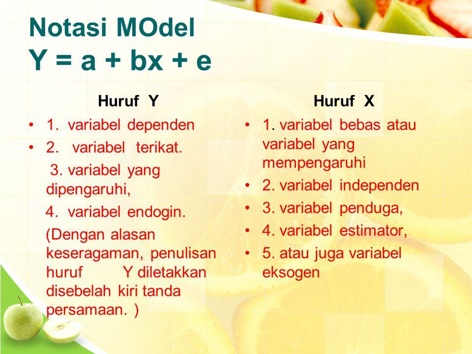 Notasi MOdel Y = a + bx + e Huruf Y 1. variabel dependen 2.