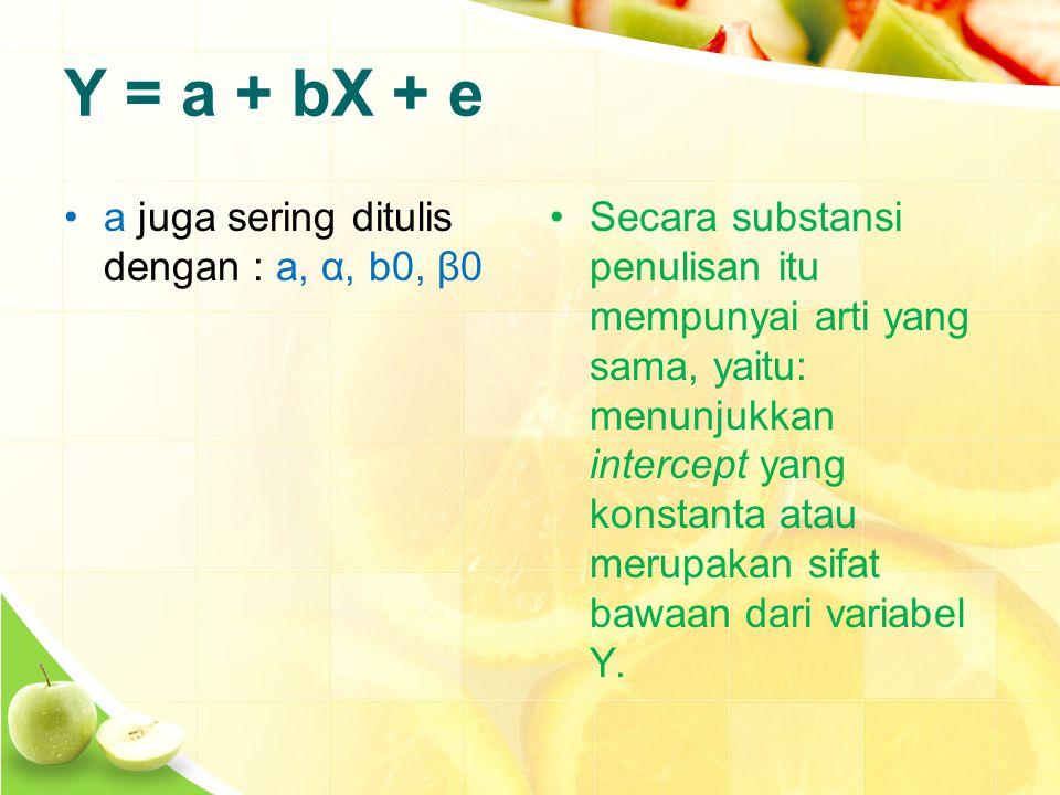 Y = a + bX + e a juga sering ditulis dengan : a, α, b0, β0 Secara substansi penulisan itu mempunyai arti yang sama, yaitu: menunjukkan intercept yang konstanta atau merupakan sifat bawaan dari variabel Y.
