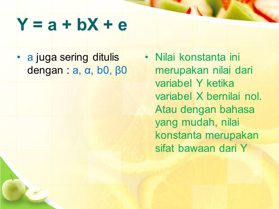 Y = a + bX + e a juga sering ditulis dengan : a, α, b0, β0 Nilai konstanta ini merupakan nilai dari variabel Y ketika variabel X bernilai nol.