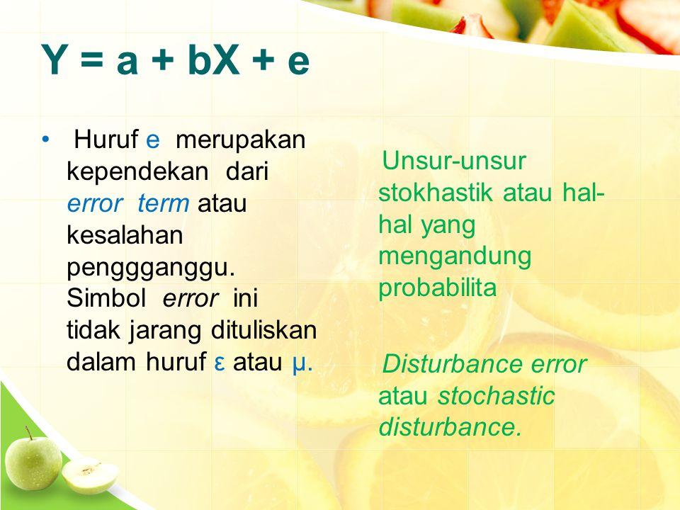 Y = a + bX + e Huruf e merupakan kependekan dari error term atau kesalahan penggganggu.