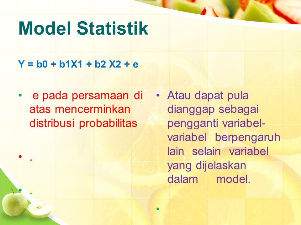 Model Statistik Y = b0 + b1X1 + b2 X2 + e e pada persamaan di atas mencerminkan distribusi probabilitas..