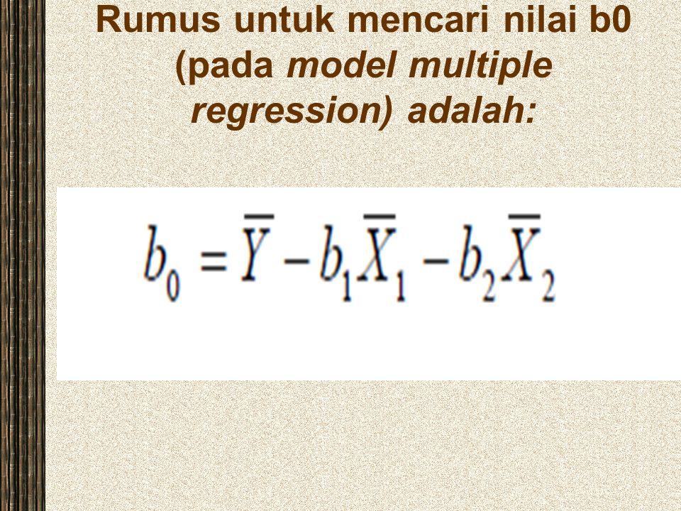 Rumus untuk mencari nilai b0 (pada model multiple regression) adalah: