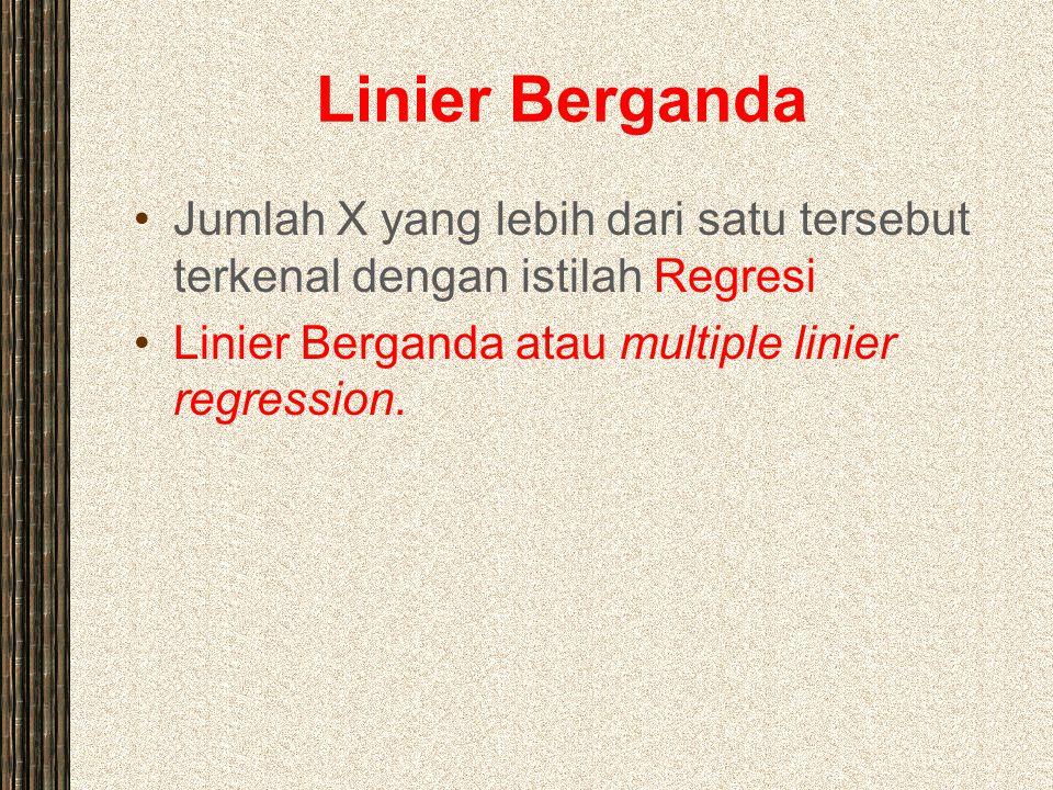 Linier Berganda Jumlah X yang lebih dari satu tersebut terkenal dengan istilah Regresi Linier Berganda atau multiple linier regression.