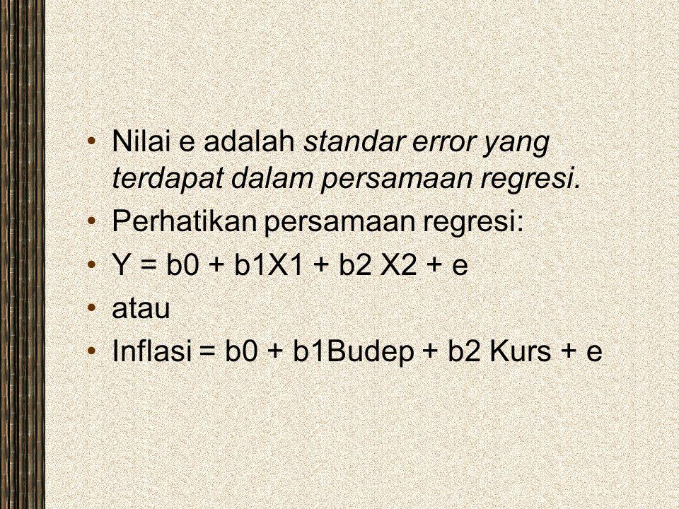 Nilai e adalah standar error yang terdapat dalam persamaan regresi. Perhatikan persamaan regresi: Y = b0 + b1X1 + b2 X2 + e atau Inflasi = b0 + b1Bude
