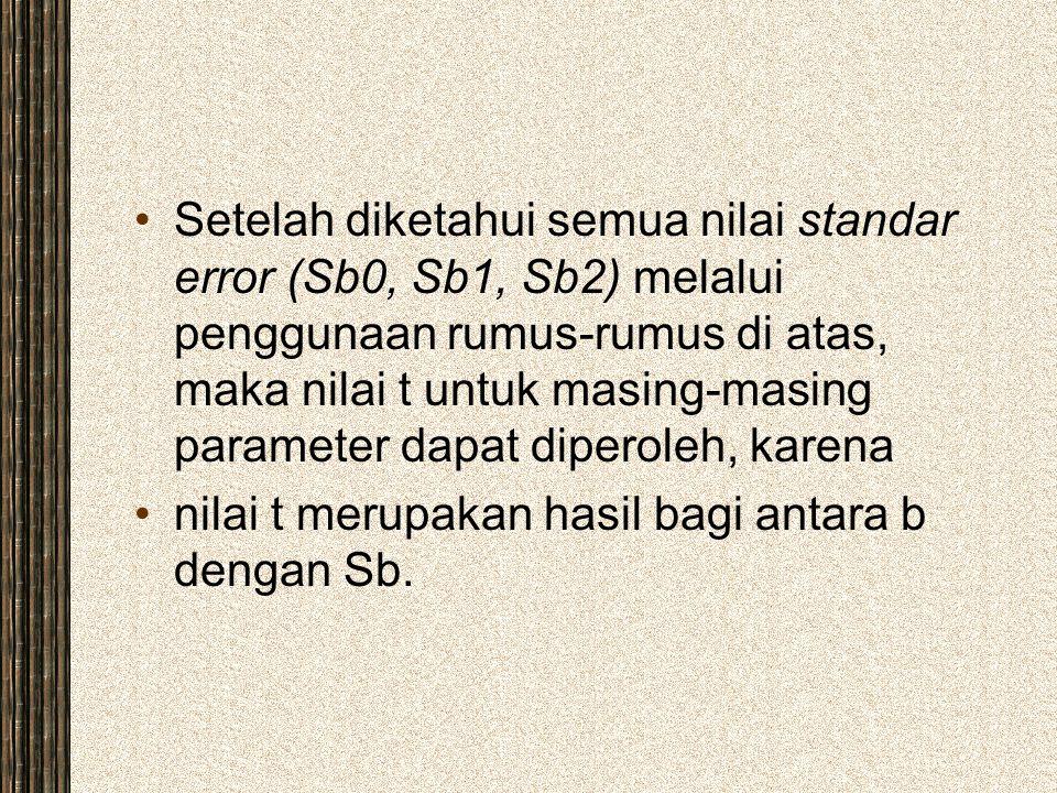 Setelah diketahui semua nilai standar error (Sb0, Sb1, Sb2) melalui penggunaan rumus-rumus di atas, maka nilai t untuk masing-masing parameter dapat d
