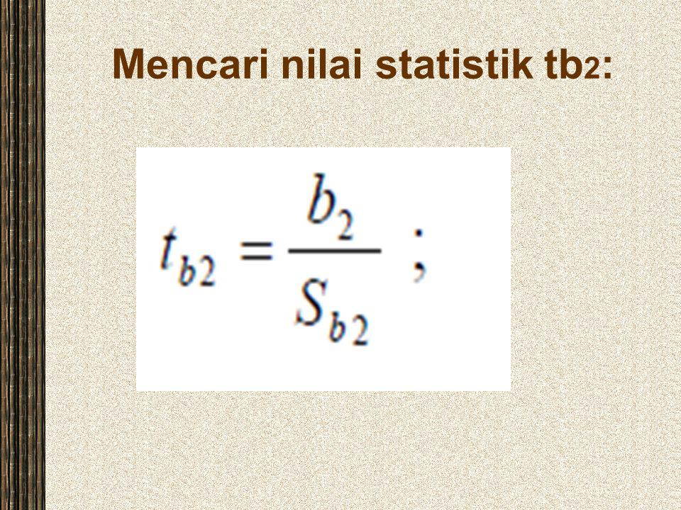 Mencari nilai statistik tb 2 :