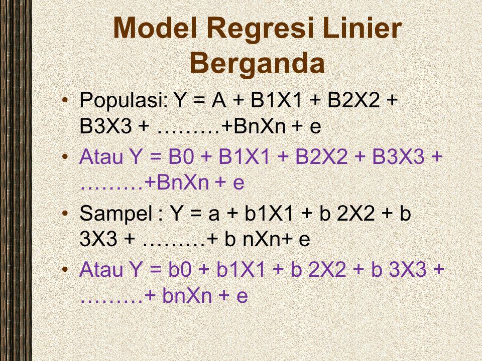 Model Regresi Linier Berganda Populasi: Y = A + B1X1 + B2X2 + B3X3 + ………+BnXn + e Atau Y = B0 + B1X1 + B2X2 + B3X3 + ………+BnXn + e Sampel : Y = a + b1X