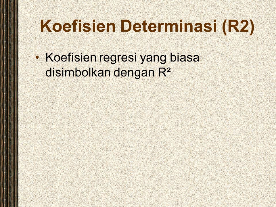 Koefisien Determinasi (R2) Koefisien regresi yang biasa disimbolkan dengan R²