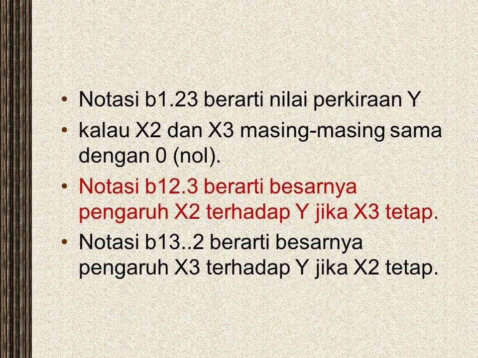 Notasi b1.23 berarti nilai perkiraan Y kalau X2 dan X3 masing-masing sama dengan 0 (nol). Notasi b12.3 berarti besarnya pengaruh X2 terhadap Y jika X3