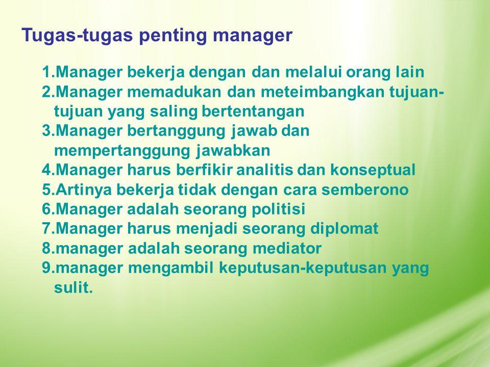 1.Manager bekerja dengan dan melalui orang lain 2.Manager memadukan dan meteimbangkan tujuan- tujuan yang saling bertentangan 3.Manager bertanggung ja