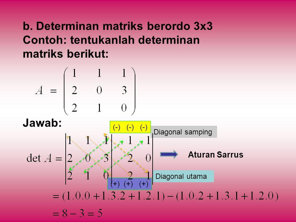 b. Determinan matriks berordo 3x3 Contoh: tentukanlah determinan matriks berikut: Jawab: Aturan Sarrus Diagonal utama Diagonal samping (-) (-) (-) (+)