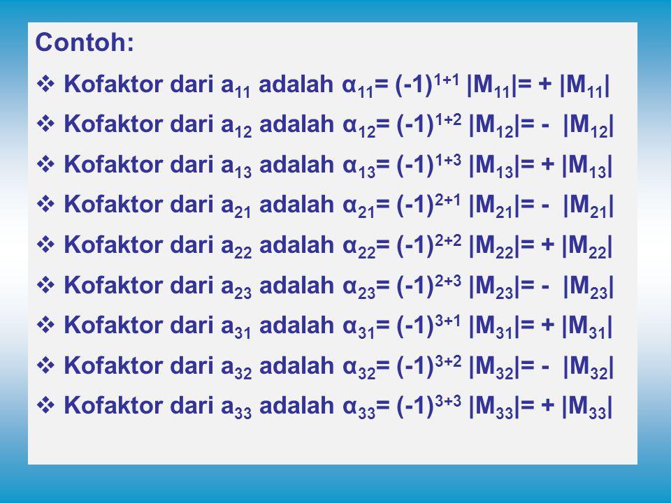 Contoh:  Kofaktor dari a 11 adalah α 11 = (-1) 1+1 |M 11 |= + |M 11 |  Kofaktor dari a 12 adalah α 12 = (-1) 1+2 |M 12 |= - |M 12 |  Kofaktor dari a 13 adalah α 13 = (-1) 1+3 |M 13 |= + |M 13 |  Kofaktor dari a 21 adalah α 21 = (-1) 2+1 |M 21 |= - |M 21 |  Kofaktor dari a 22 adalah α 22 = (-1) 2+2 |M 22 |= + |M 22 |  Kofaktor dari a 23 adalah α 23 = (-1) 2+3 |M 23 |= - |M 23 |  Kofaktor dari a 31 adalah α 31 = (-1) 3+1 |M 31 |= + |M 31 |  Kofaktor dari a 32 adalah α 32 = (-1) 3+2 |M 32 |= - |M 32 |  Kofaktor dari a 33 adalah α 33 = (-1) 3+3 |M 33 |= + |M 33 |