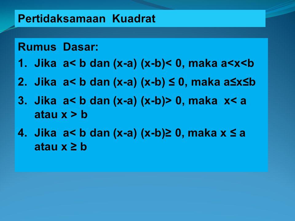 Pertidaksamaan Kuadrat Rumus Dasar: 1.Jika a< b dan (x-a) (x-b)< 0, maka a<x<b 2.Jika a< b dan (x-a) (x-b) ≤ 0, maka a≤x≤b 3.Jika a 0, maka x b 4.Jika