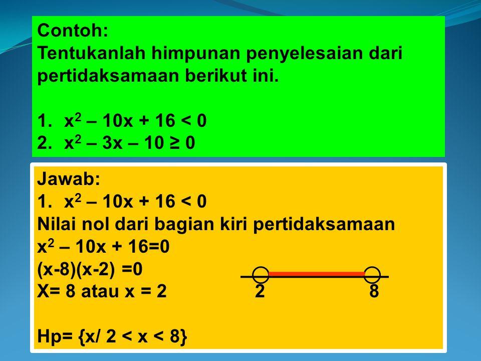 Contoh: Tentukanlah himpunan penyelesaian dari pertidaksamaan berikut ini. 1.x 2 – 10x + 16 < 0 2.x 2 – 3x – 10 ≥ 0 Jawab: 1.x 2 – 10x + 16 < 0 Nilai