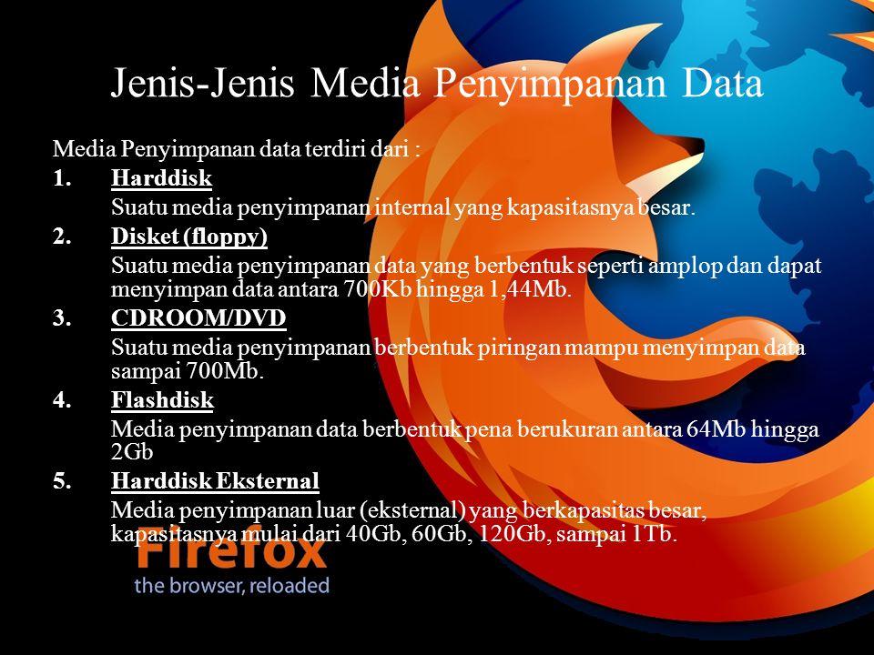 Jenis-Jenis Media Penyimpanan Data Media Penyimpanan data terdiri dari : 1.Harddisk Suatu media penyimpanan internal yang kapasitasnya besar. 2.Disket