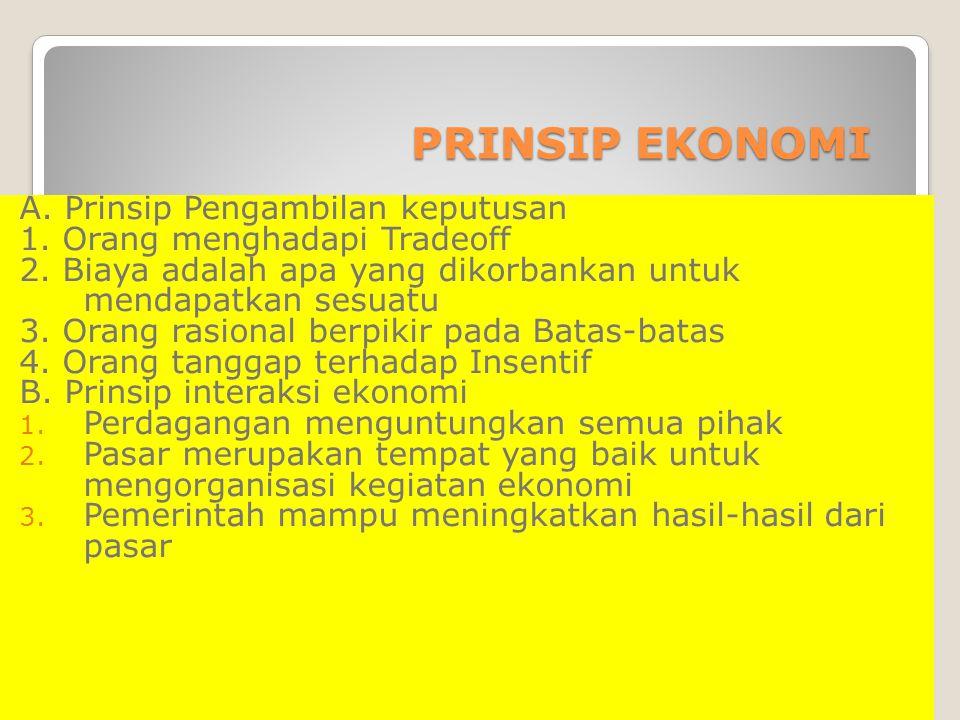 PRINSIP EKONOMI PRINSIP EKONOMI A. Prinsip Pengambilan keputusan 1. Orang menghadapi Tradeoff 2. Biaya adalah apa yang dikorbankan untuk mendapatkan s