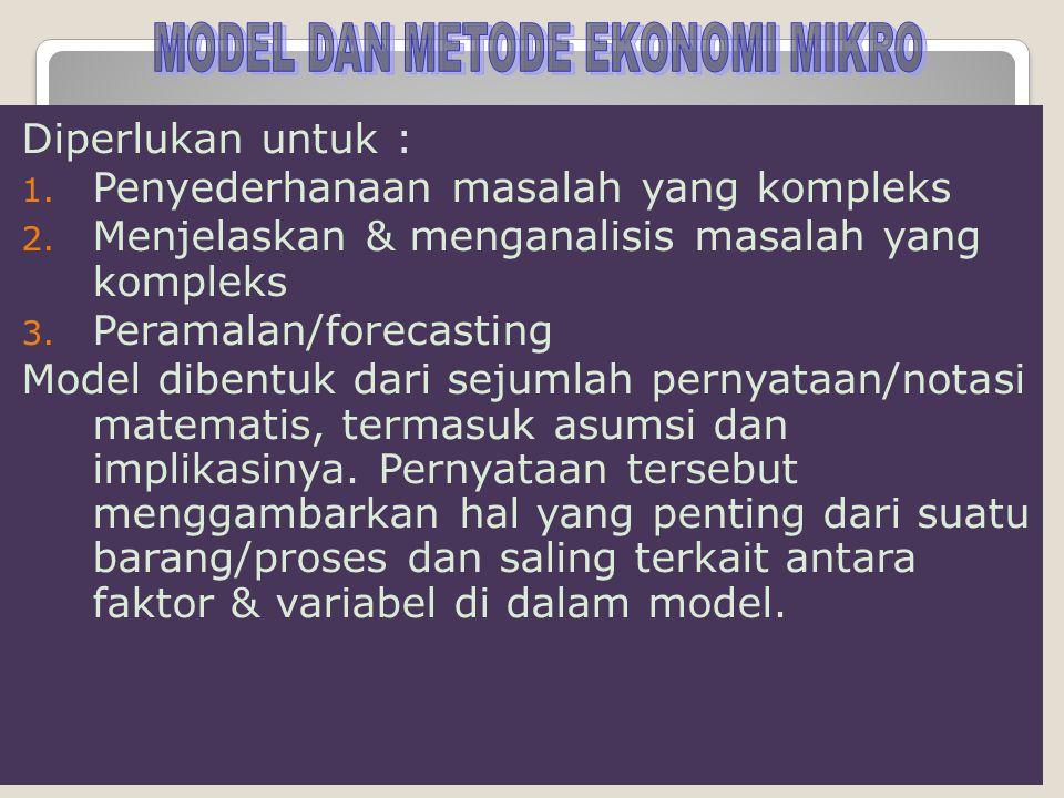Diperlukan untuk : 1. Penyederhanaan masalah yang kompleks 2. Menjelaskan & menganalisis masalah yang kompleks 3. Peramalan/forecasting Model dibentuk