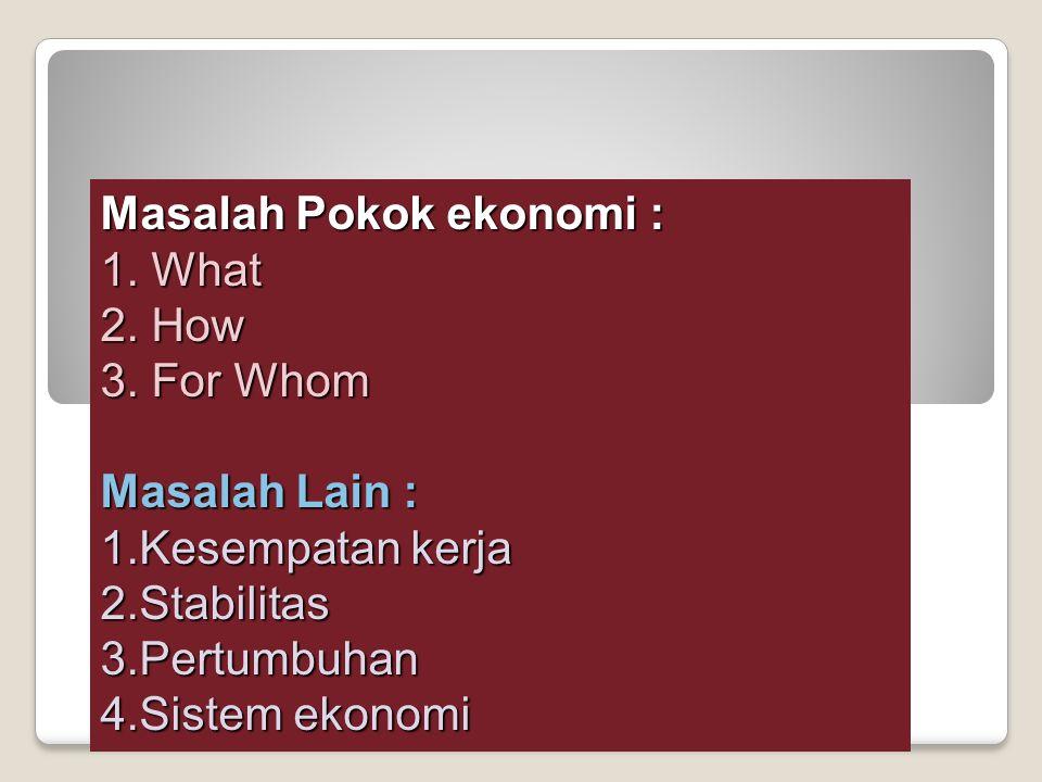 Masalah Pokok ekonomi : 1. What 2. How 3. For Whom Masalah Lain : 1.Kesempatan kerja 2.Stabilitas3.Pertumbuhan 4.Sistem ekonomi