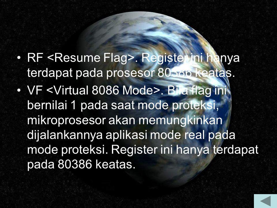 RF. Register ini hanya terdapat pada prosesor 80386 keatas. VF. Bila flag ini bernilai 1 pada saat mode proteksi, mikroprosesor akan memungkinkan dija