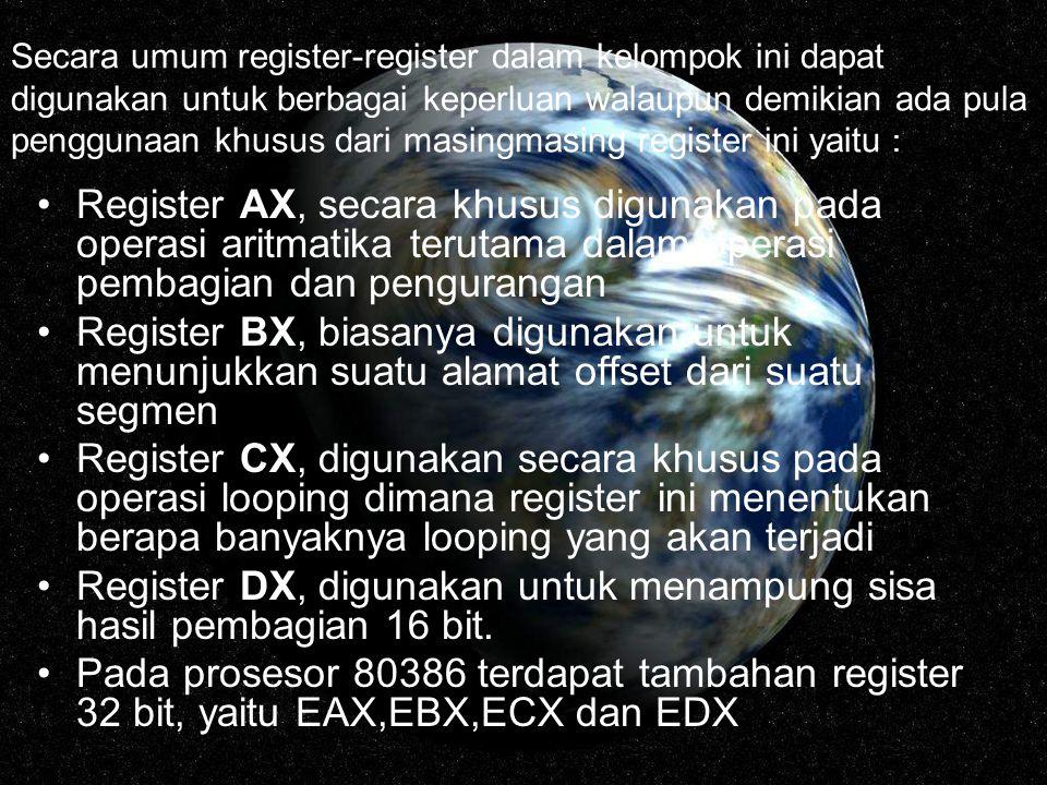 Secara umum register-register dalam kelompok ini dapat digunakan untuk berbagai keperluan walaupun demikian ada pula penggunaan khusus dari masingmasi