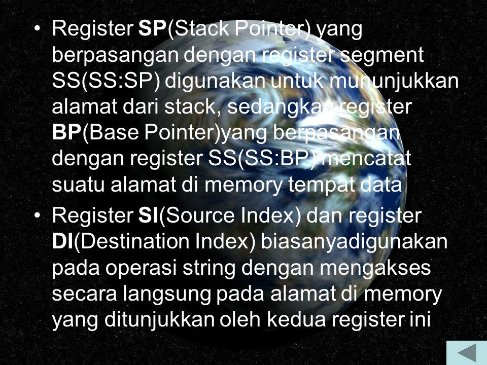 Register SP(Stack Pointer) yang berpasangan dengan register segment SS(SS:SP) digunakan untuk mununjukkan alamat dari stack, sedangkan register BP(Bas