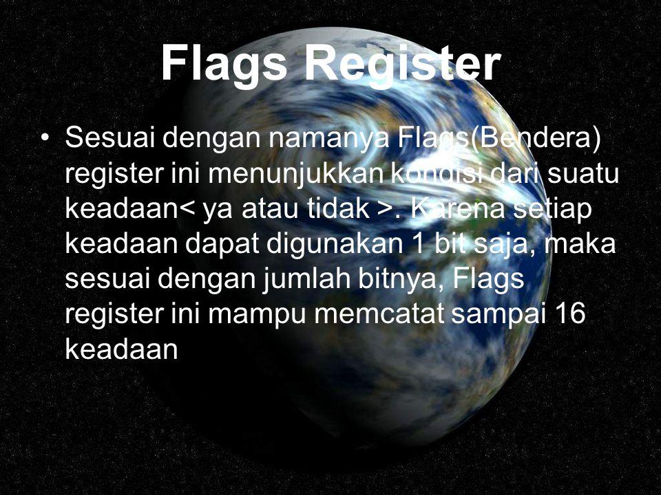 Flags Register Sesuai dengan namanya Flags(Bendera) register ini menunjukkan kondisi dari suatu keadaan. Karena setiap keadaan dapat digunakan 1 bit s