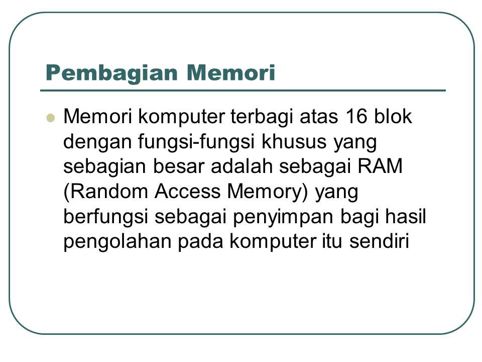 Pembagian Memori Memori komputer terbagi atas 16 blok dengan fungsi-fungsi khusus yang sebagian besar adalah sebagai RAM (Random Access Memory) yang berfungsi sebagai penyimpan bagi hasil pengolahan pada komputer itu sendiri