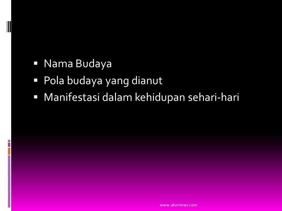  Nama Budaya  Pola budaya yang dianut  Manifestasi dalam kehidupan sehari-hari www.akurnews.com