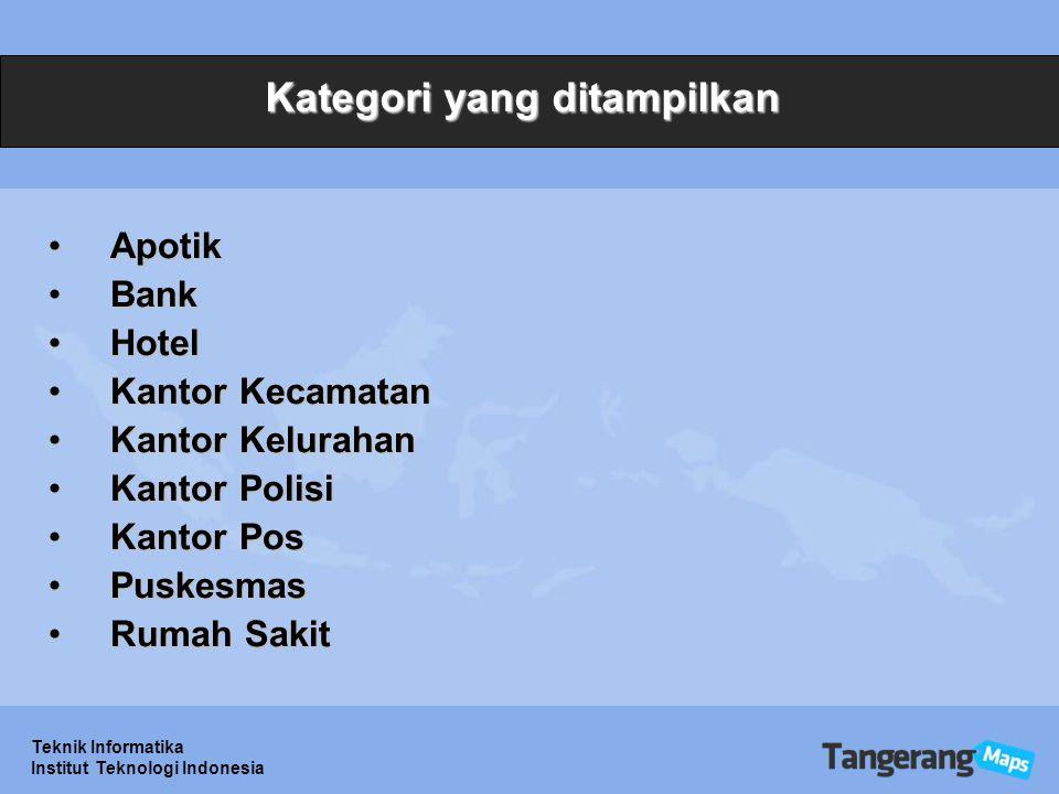 Teknik Informatika Institut Teknologi Indonesia Kategori yang ditampilkan ApotikApotik BankBank HotelHotel Kantor KecamatanKantor Kecamatan Kantor KelurahanKantor Kelurahan Kantor PolisiKantor Polisi Kantor PosKantor Pos PuskesmasPuskesmas Rumah SakitRumah Sakit