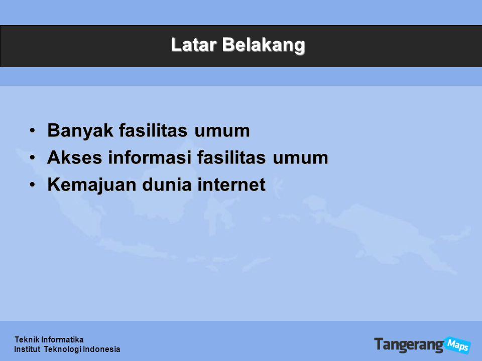 Teknik Informatika Institut Teknologi Indonesia Permasalahan Fasilitas umum apa sajaFasilitas umum apa saja Lokasi fasilitas umumLokasi fasilitas umum Akses informasiAkses informasi