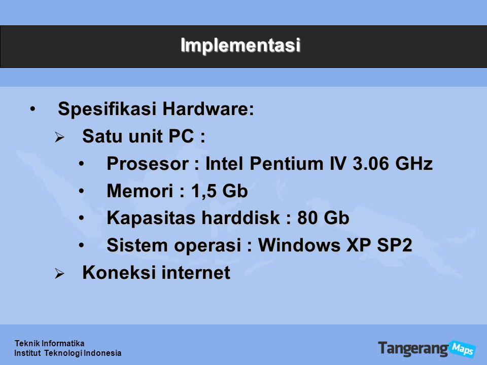 Teknik Informatika Institut Teknologi Indonesia Implementasi Spesifikasi Hardware:Spesifikasi Hardware:  Satu unit PC : Prosesor : Intel Pentium IV 3.06 GHzProsesor : Intel Pentium IV 3.06 GHz Memori : 1,5 GbMemori : 1,5 Gb Kapasitas harddisk : 80 GbKapasitas harddisk : 80 Gb Sistem operasi : Windows XP SP2Sistem operasi : Windows XP SP2  Koneksi internet
