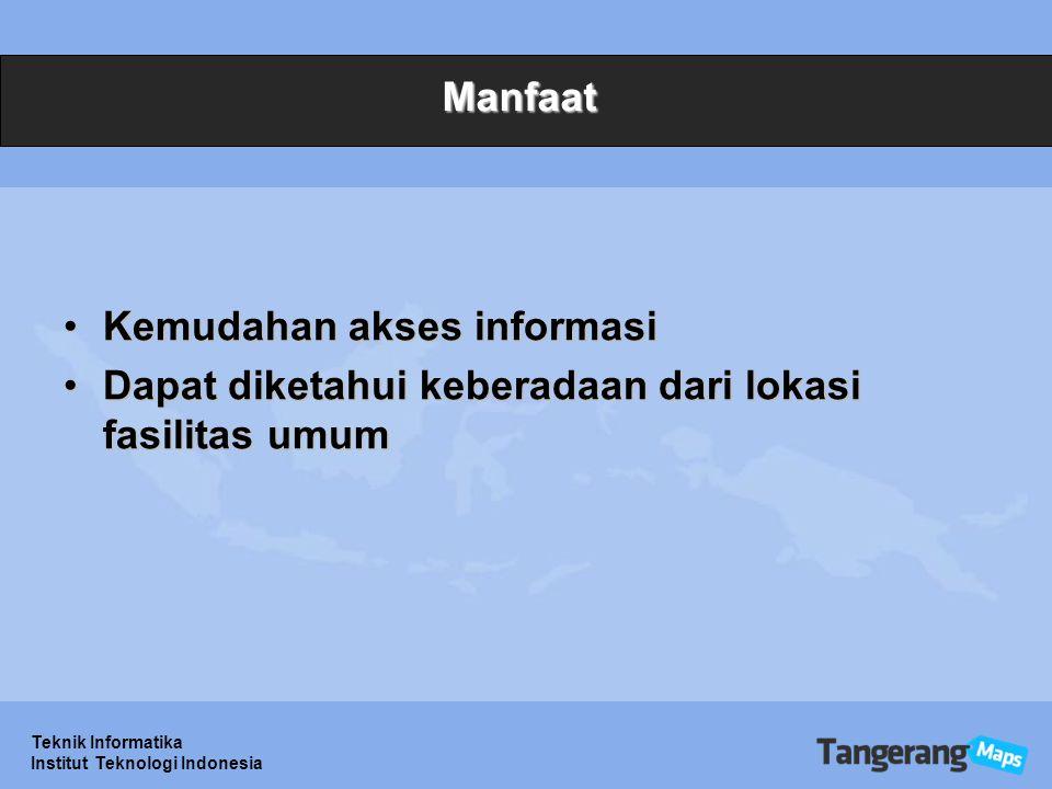 Teknik Informatika Institut Teknologi Indonesia Manfaat Kemudahan akses informasiKemudahan akses informasi Dapat diketahui keberadaan dari lokasi fasilitas umumDapat diketahui keberadaan dari lokasi fasilitas umum