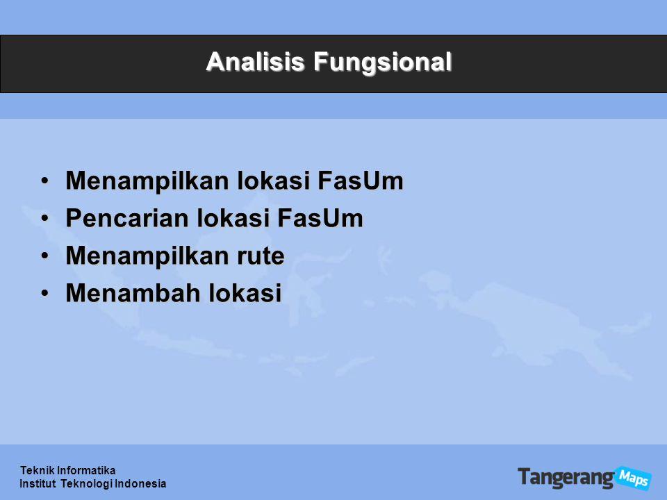 Teknik Informatika Institut Teknologi Indonesia Analisis Fungsional Menampilkan lokasi FasUmMenampilkan lokasi FasUm Pencarian lokasi FasUmPencarian lokasi FasUm Menampilkan ruteMenampilkan rute Menambah lokasiMenambah lokasi