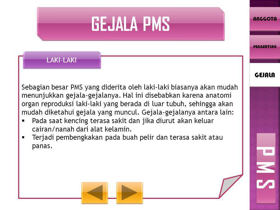 GEJALA PMS Sebagian besar PMS yang diderita oleh laki-laki biasanya akan mudah menunjukkan gejala-gejalanya. Hal ini disebabkan karena anatomi organ r