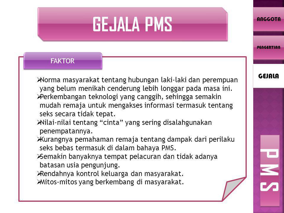 ANGGOTA GEJALA PMS  Norma masyarakat tentang hubungan laki-laki dan perempuan yang belum menikah cenderung lebih longgar pada masa ini.  Perkembanga