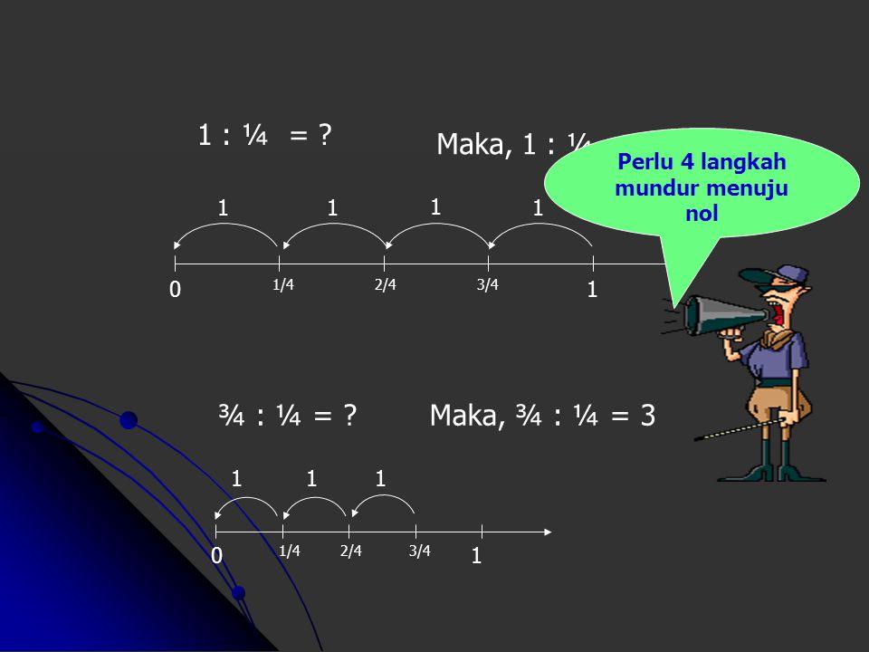 1 : ¼ = ? Maka, 1 : ¼ = 4 0 2/43/4 1 1/4 1 1 11 0 2/43/4 1 1/4 ¾ : ¼ = ?Maka, ¾ : ¼ = 3 11 1 Perlu 4 langkah mundur menuju nol