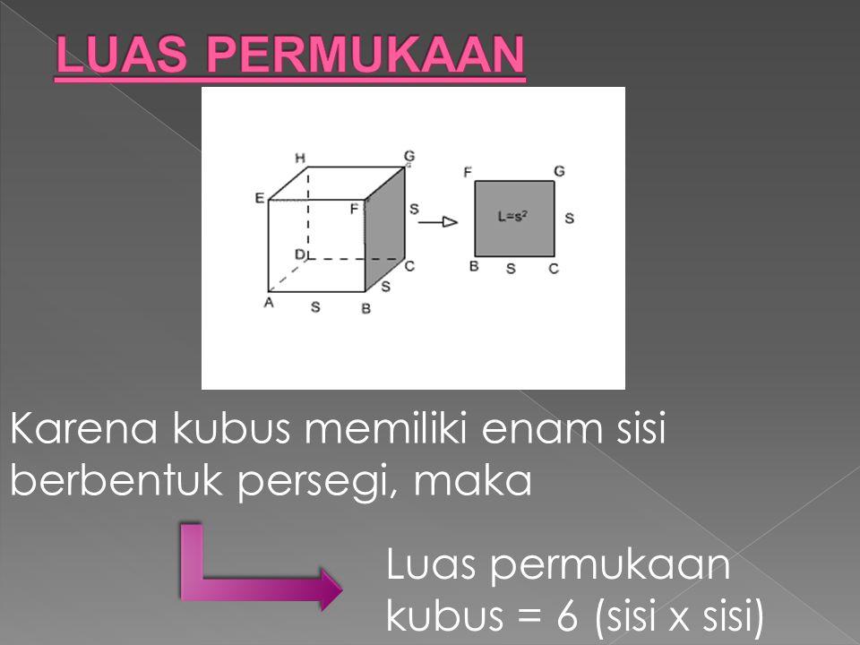 Karena kubus memiliki enam sisi berbentuk persegi, maka Luas permukaan kubus = 6 (sisi x sisi)