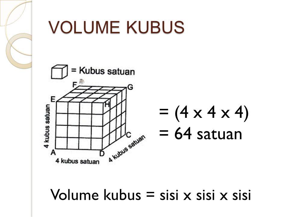 VOLUME KUBUS = (4 x 4 x 4) = 64 satuan Volume kubus = sisi x sisi x sisi