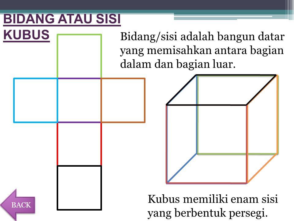 BIDANG ATAU SISI KUBUS Kubus memiliki enam sisi yang berbentuk persegi.
