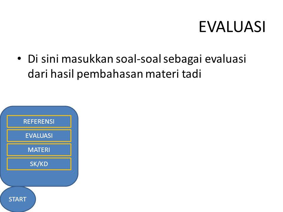 EVALUASI START REFERENSI EVALUASI MATERI SK/KD Di sini masukkan soal-soal sebagai evaluasi dari hasil pembahasan materi tadi