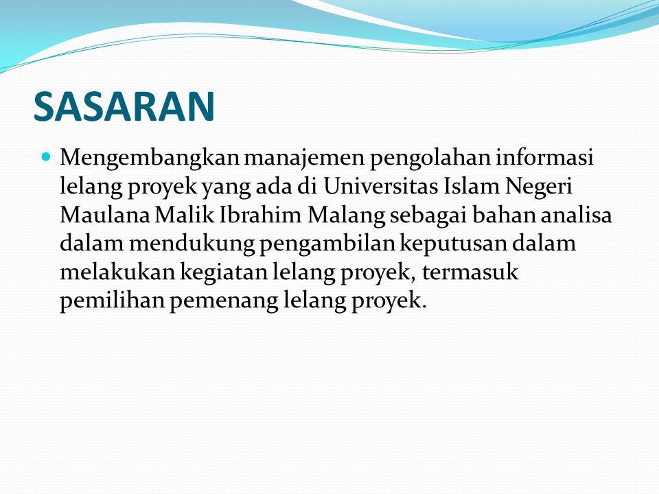 SASARAN Mengembangkan manajemen pengolahan informasi lelang proyek yang ada di Universitas Islam Negeri Maulana Malik Ibrahim Malang sebagai bahan ana