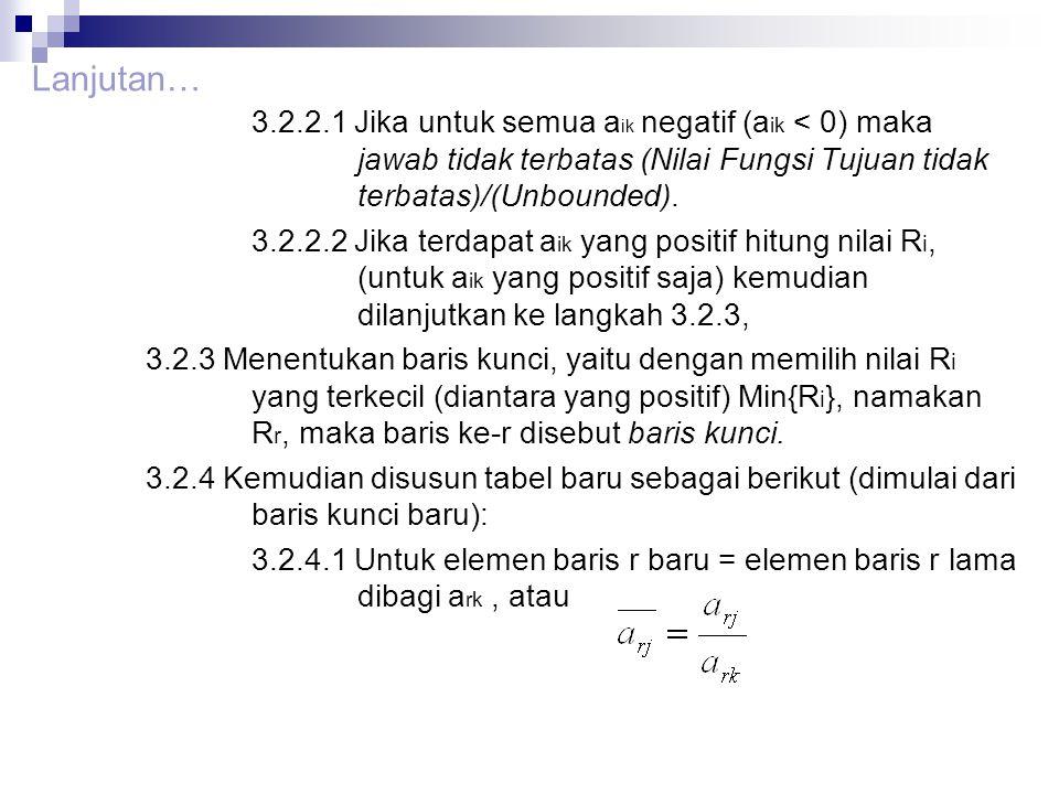 3.2.2.1 Jika untuk semua a ik negatif (a ik < 0) maka jawab tidak terbatas (Nilai Fungsi Tujuan tidak terbatas)/(Unbounded). 3.2.2.2 Jika terdapat a i