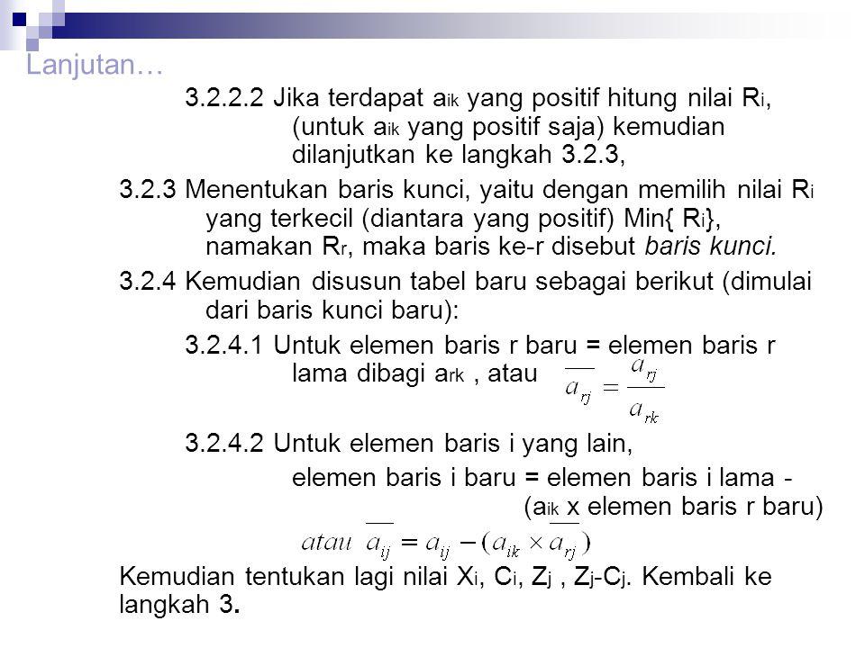 3.2.2.2 Jika terdapat a ik yang positif hitung nilai R i, (untuk a ik yang positif saja) kemudian dilanjutkan ke langkah 3.2.3, 3.2.3 Menentukan baris