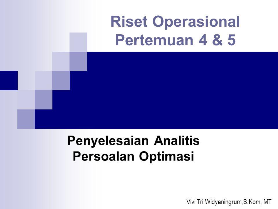 Pendahuluan Dasar dalam pembahasan penyelesaian analitis persoalan optimasi ini adalah Mathematic (Simbolic) Model yang telah dipelajari sebelumnya.
