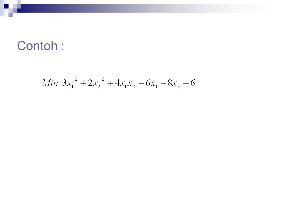 Catatan : syarat perlu  L(x, ) = 0 syarat cukupL(x, ) harus konveks f(x) harus konveks h(x) dengan positif harus konveks h(x) dengan negatif harus konkav Lanjutan…