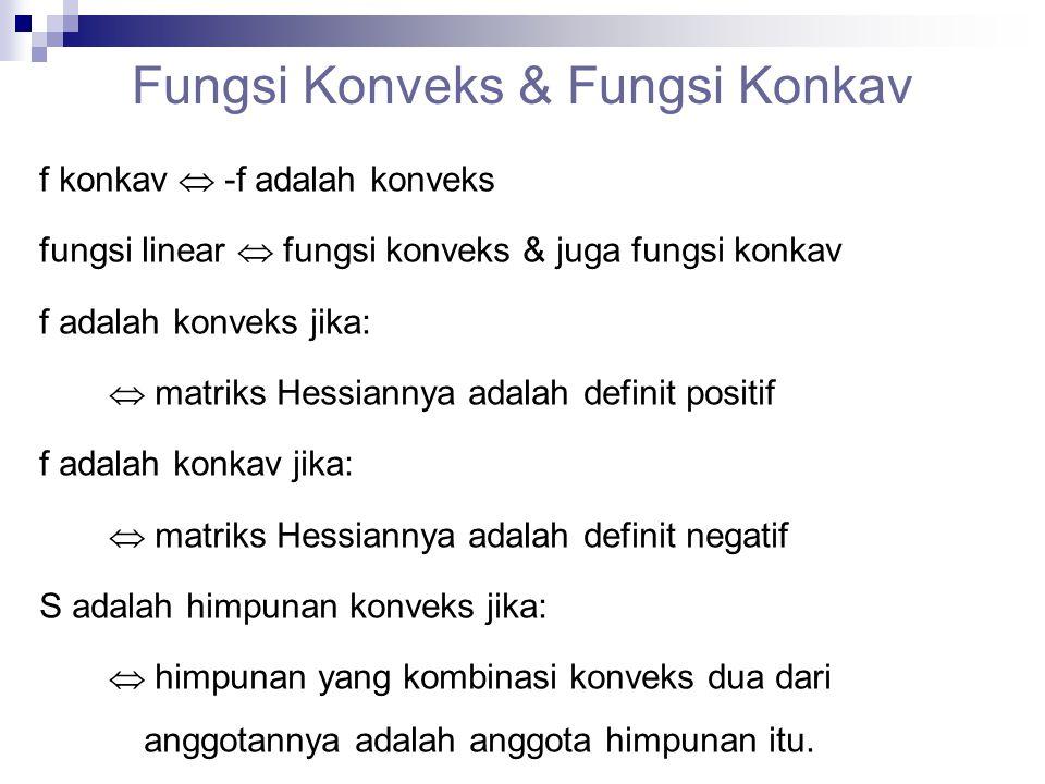 Fungsi Konveks & Fungsi Konkav f konkav  -f adalah konveks fungsi linear  fungsi konveks & juga fungsi konkav f adalah konveks jika:  matriks Hessi