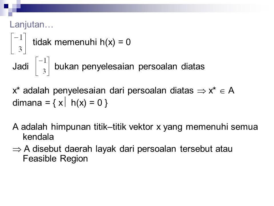 tidak memenuhi h(x) = 0 Jadi bukan penyelesaian persoalan diatas x* adalah penyelesaian dari persoalan diatas  x*  A dimana = { x  h(x) = 0 } A ada